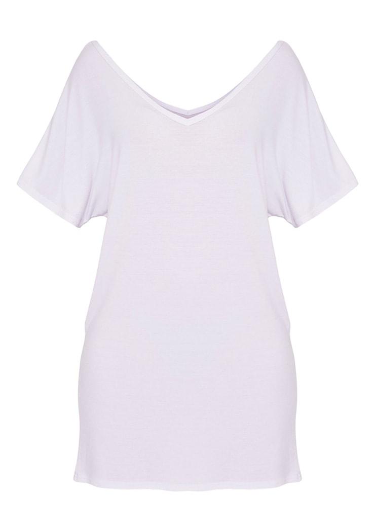 Basic White V Neck T Shirt Dress 3
