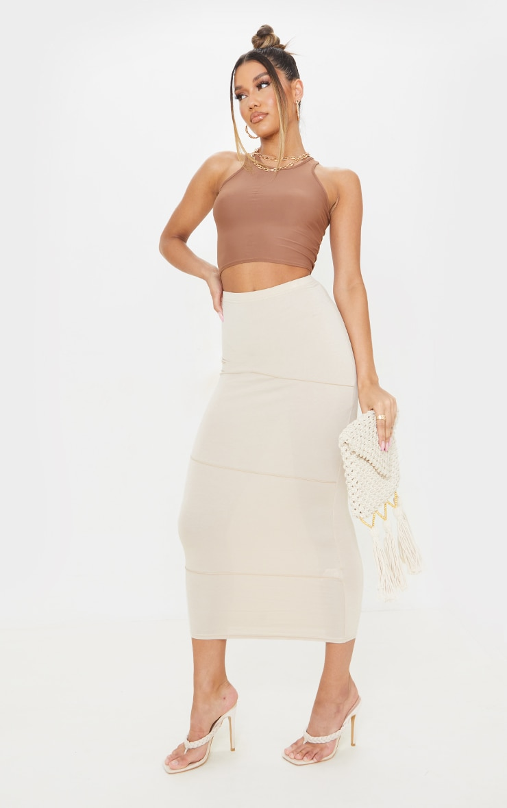 Stone Exposed Seam Midaxi Skirt 1