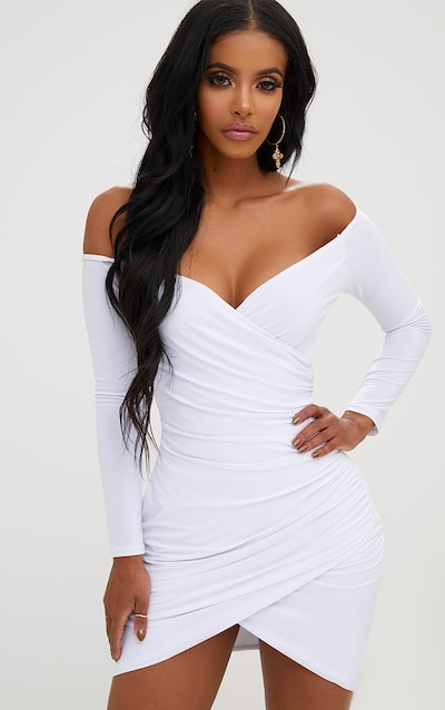 f0617e9a848 Shape White Ruched Bardot Bodycon Dress PrettyLittleThing Sticker