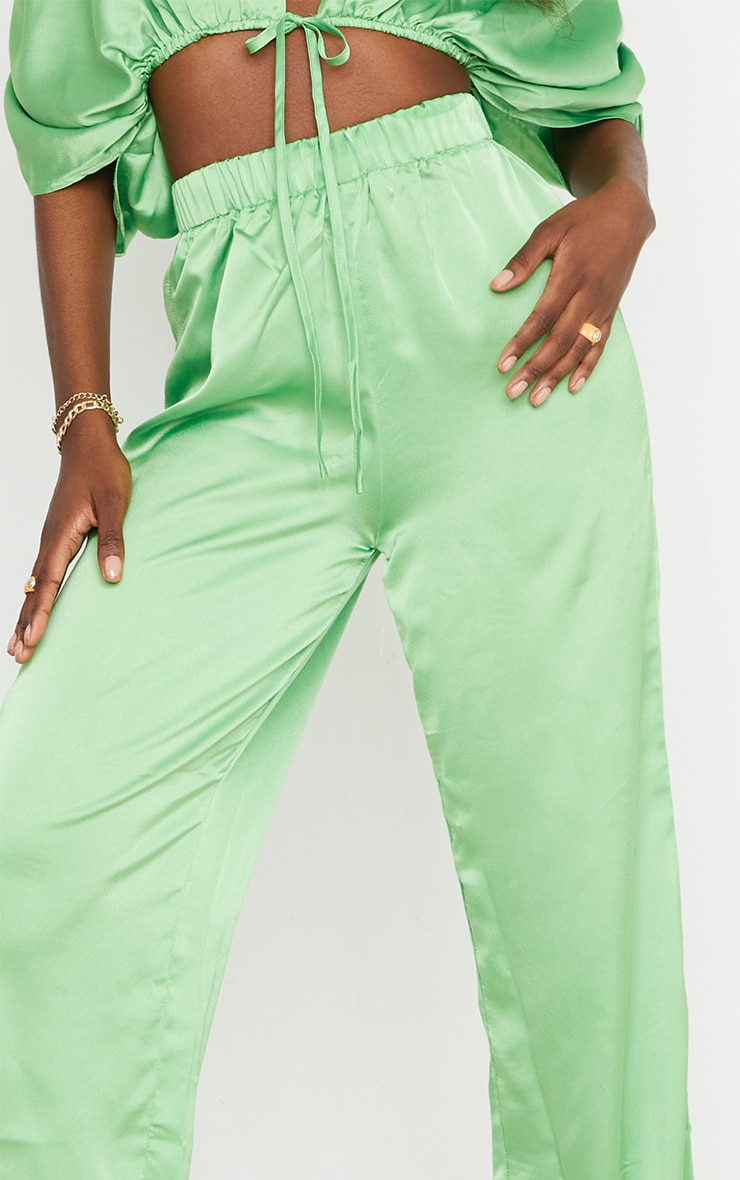 Tall Green Satin High Waisted Ruched Wide Leg Pants 4