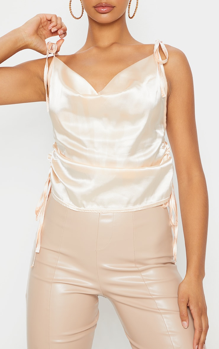 Champagne Satin Ruched Side Seam Cami Top 4