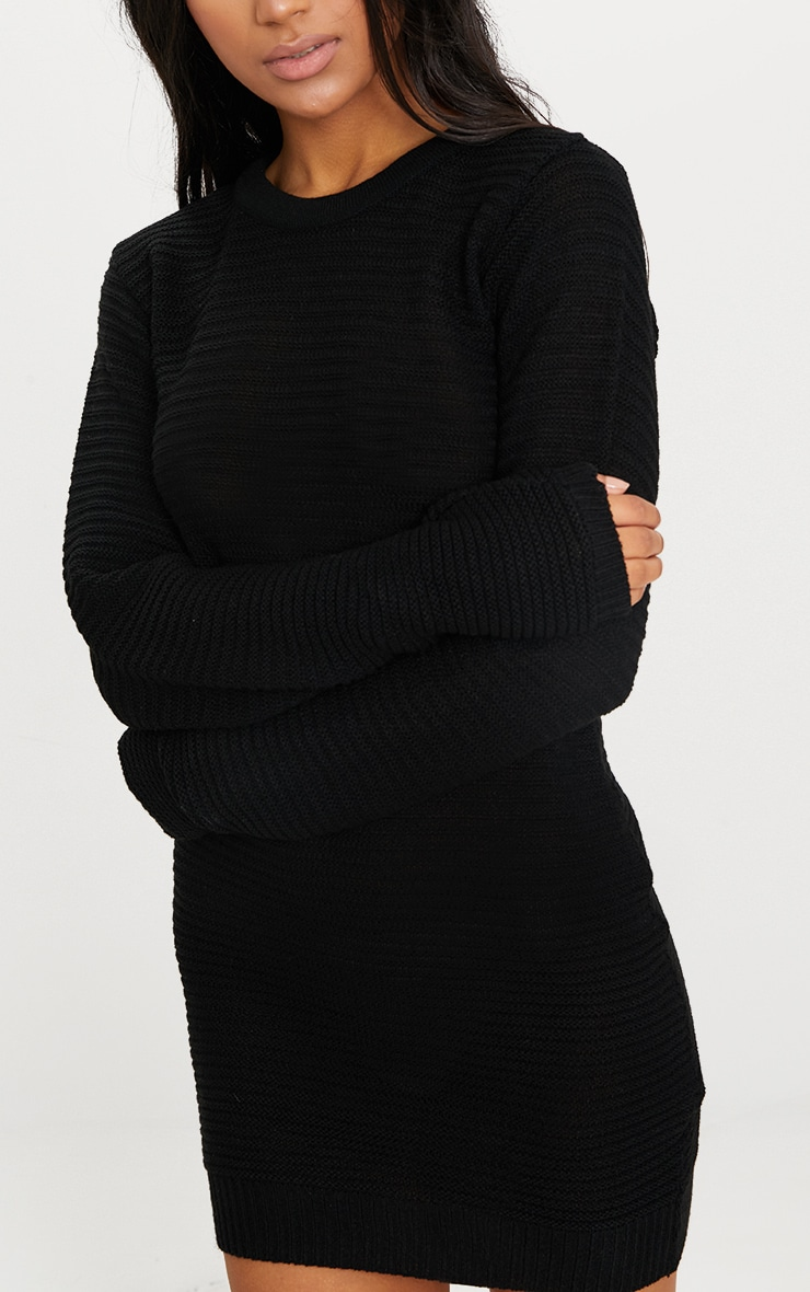 Black Fine Knit Sweater Dress 5
