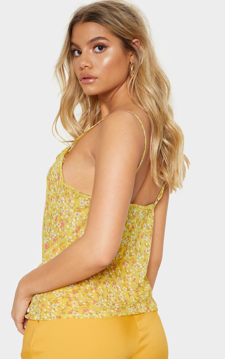 Multi Ditsy Floral Print Cowl Neck Cami Top 2
