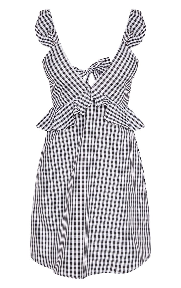 Tall Black Gingham Frill Detail Tie Back Dress 3