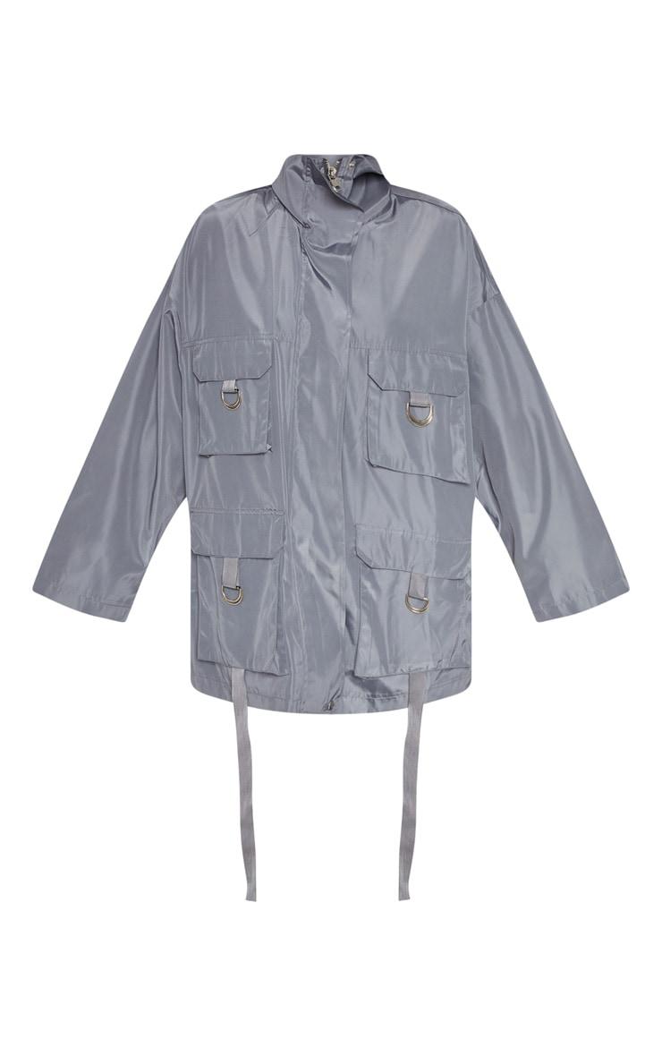 Charcoal Pocket Detail Oversized Jacket 3