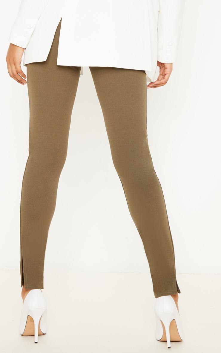 Khaki Stitch Detail Side Split Skinny Trouser 4