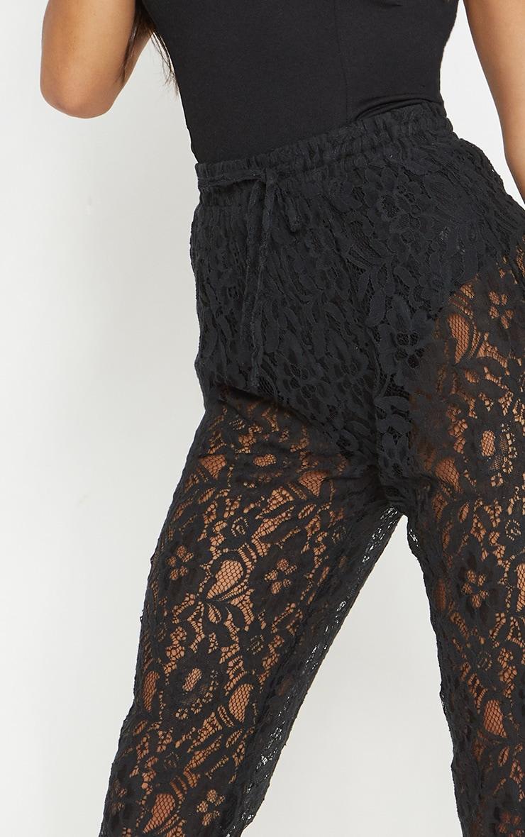 Black Drawstring Waist Lace Jogger 5