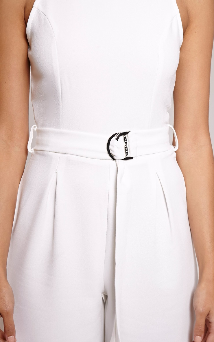 Candace White High Neck D Ring Culotte Jumpsuit 5