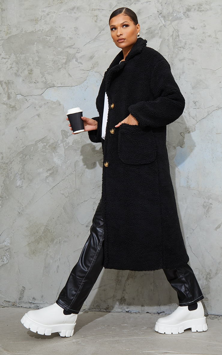 Black Maxi Borg Coat 1