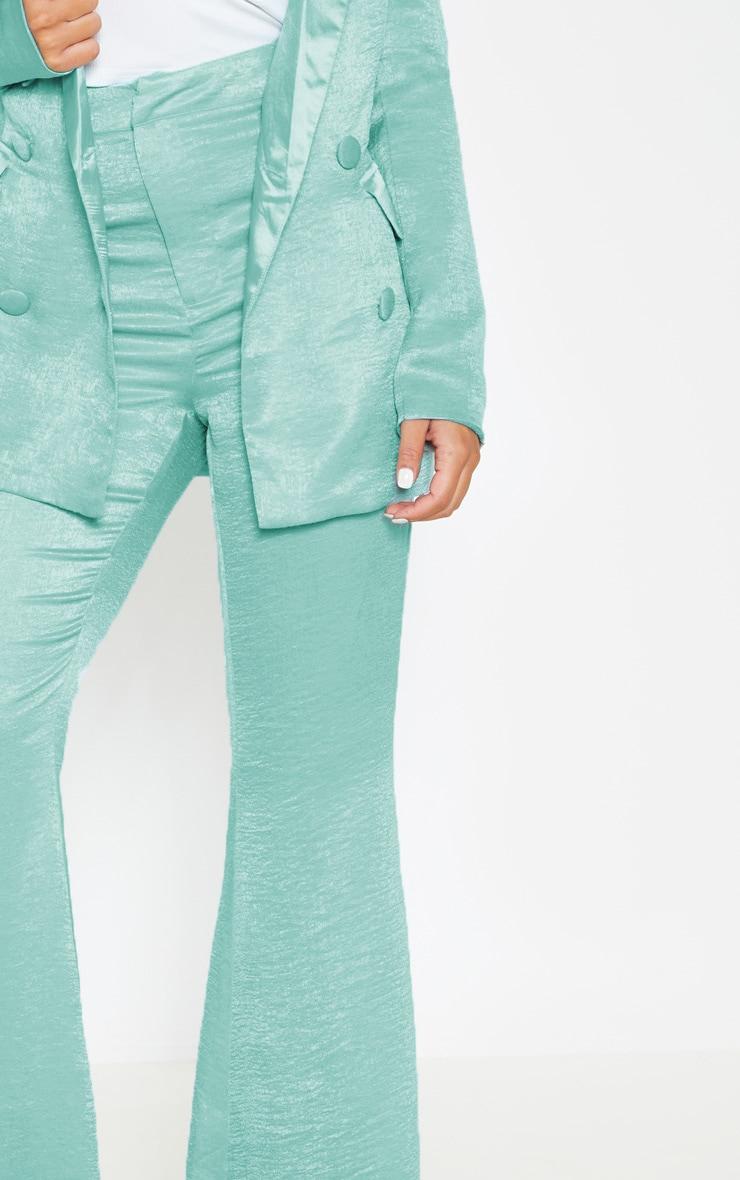 Petite - Pantalon à pinces vert menthe satiné à coupe très évasée 5