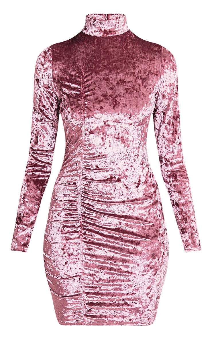 Lilli Dusty Pink Crushed Velvet High Neck Bodycon Dress 3