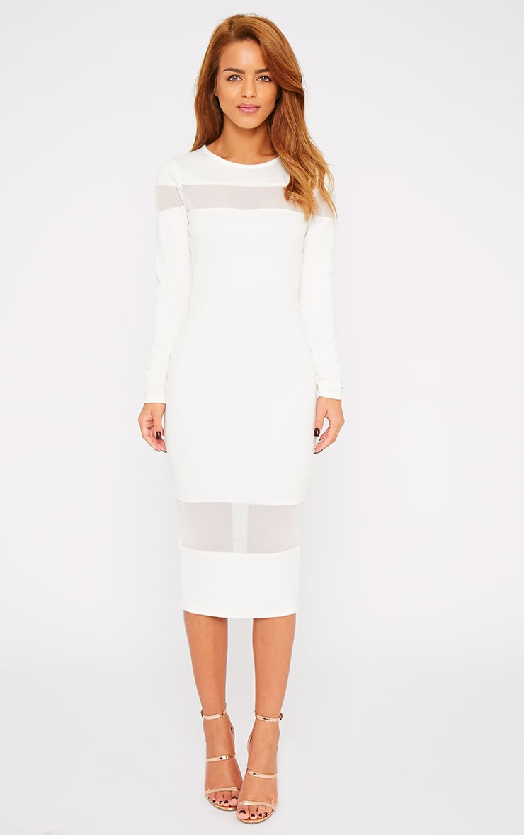 Justina White Mesh Insert Bodycon Midi Dress 4