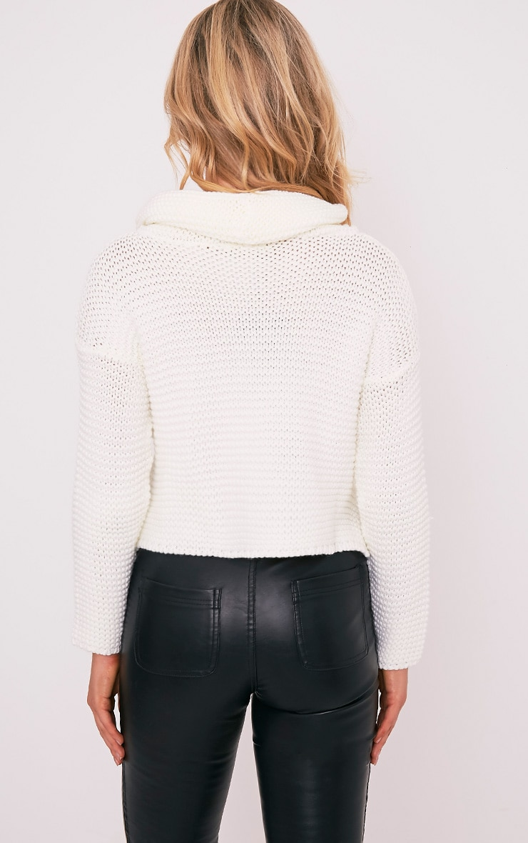 Resi Cream Roll Neck Long Sleeve Crop Jumper 3