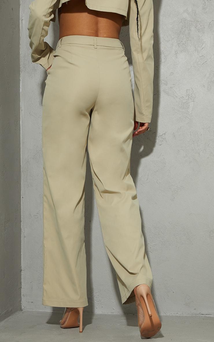 Stone Peach Skin Wide Leg Trousers 5