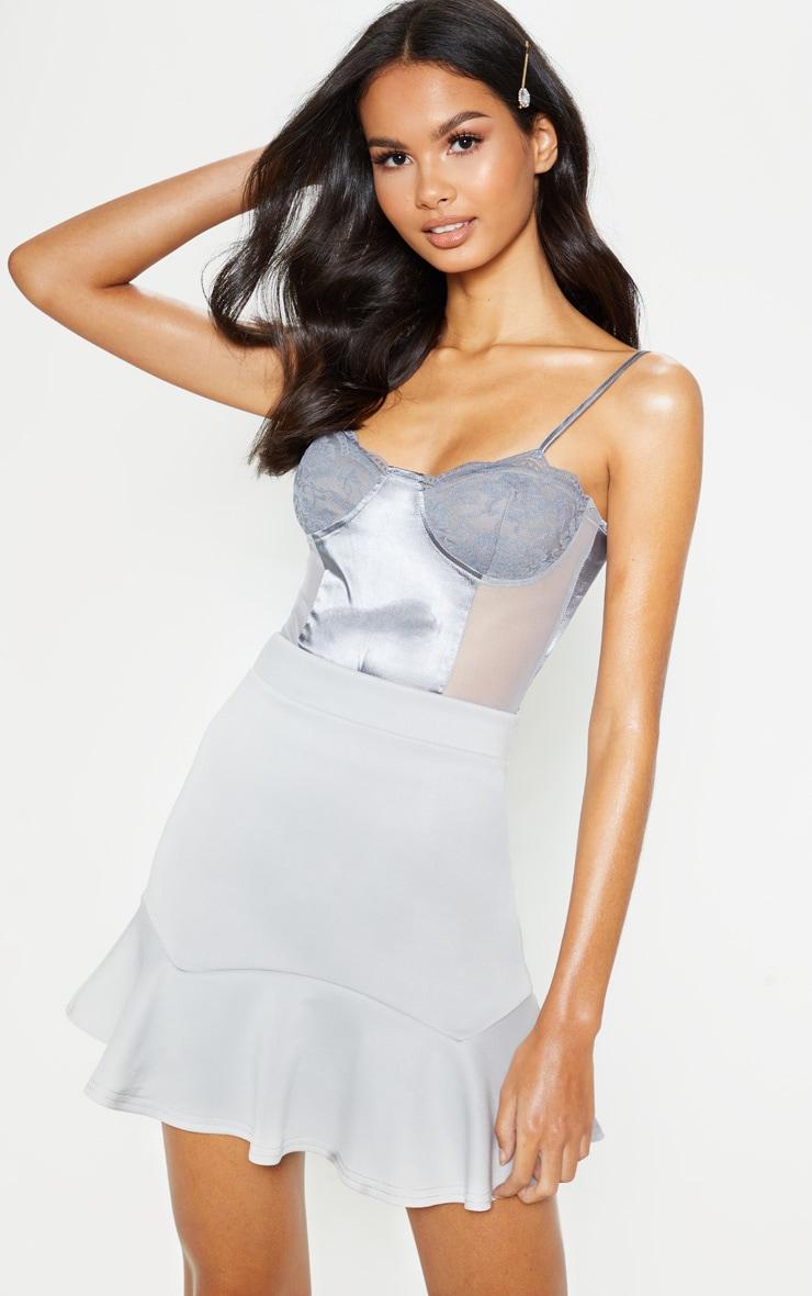 Grey Flippy Hem Mini Skirt 1