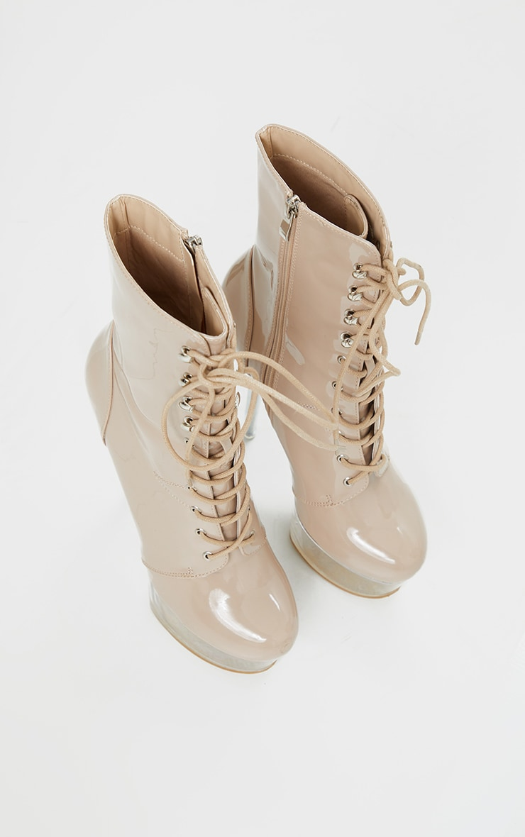 Nude Patent Lace Up Extreme Platform Heeled Boot 3