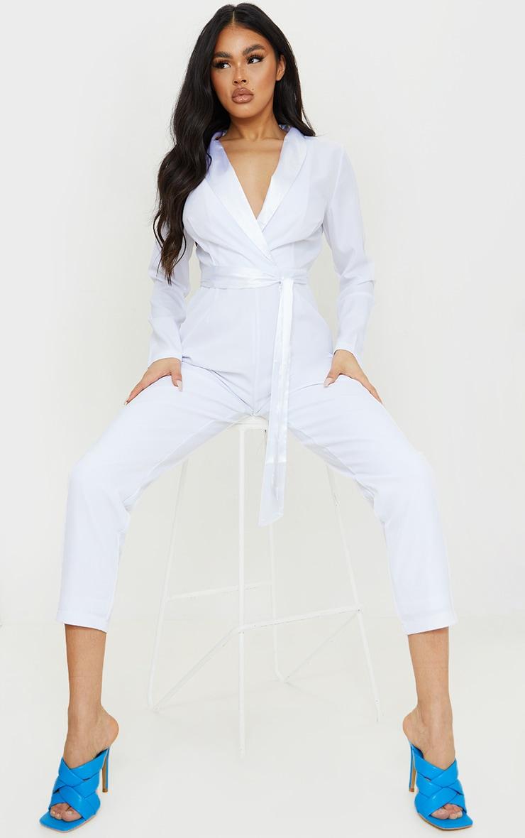 White Satin Lapel Blazer Jumpsuit 1
