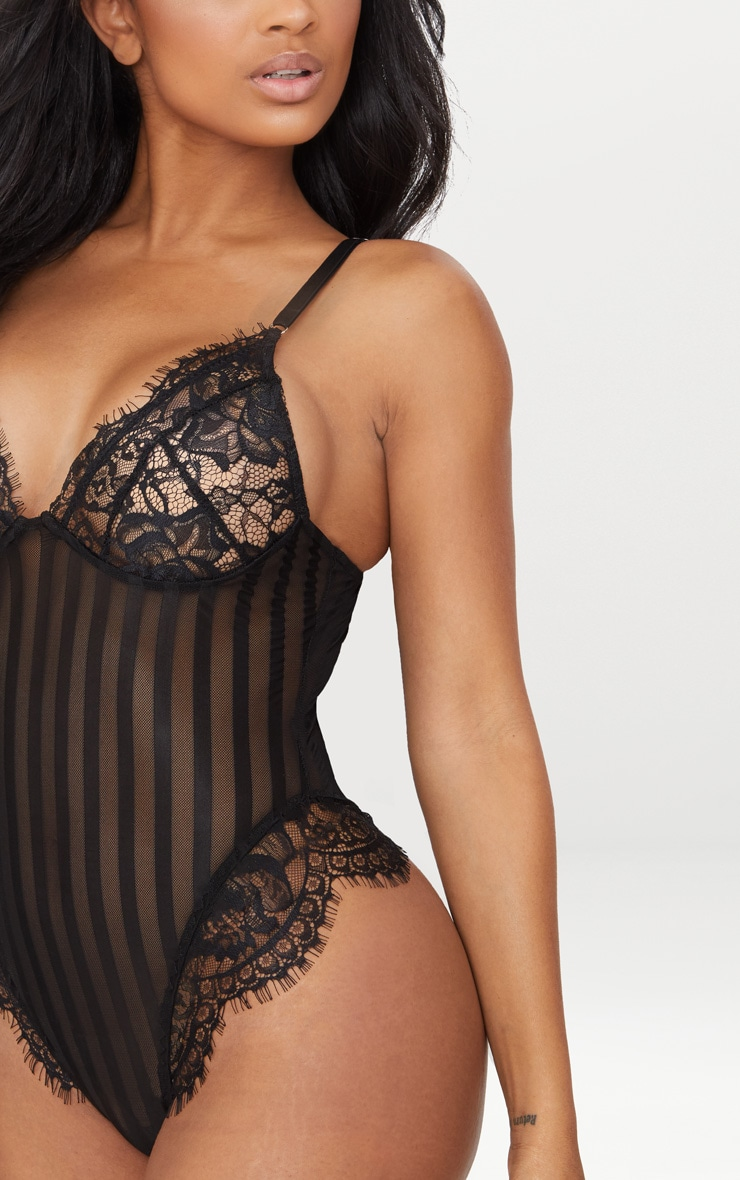 Black Striped Lace Bodysuit 5