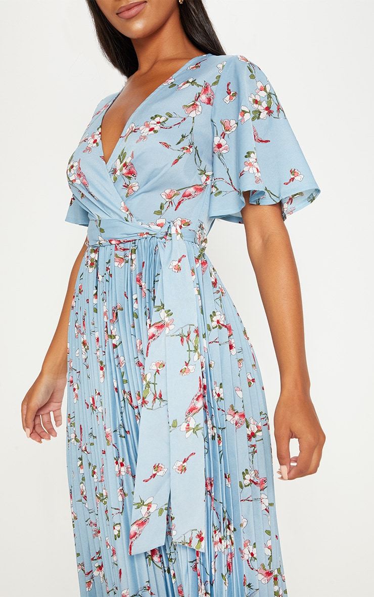 Dusty Blue Floral Pleated Midi Dress 5