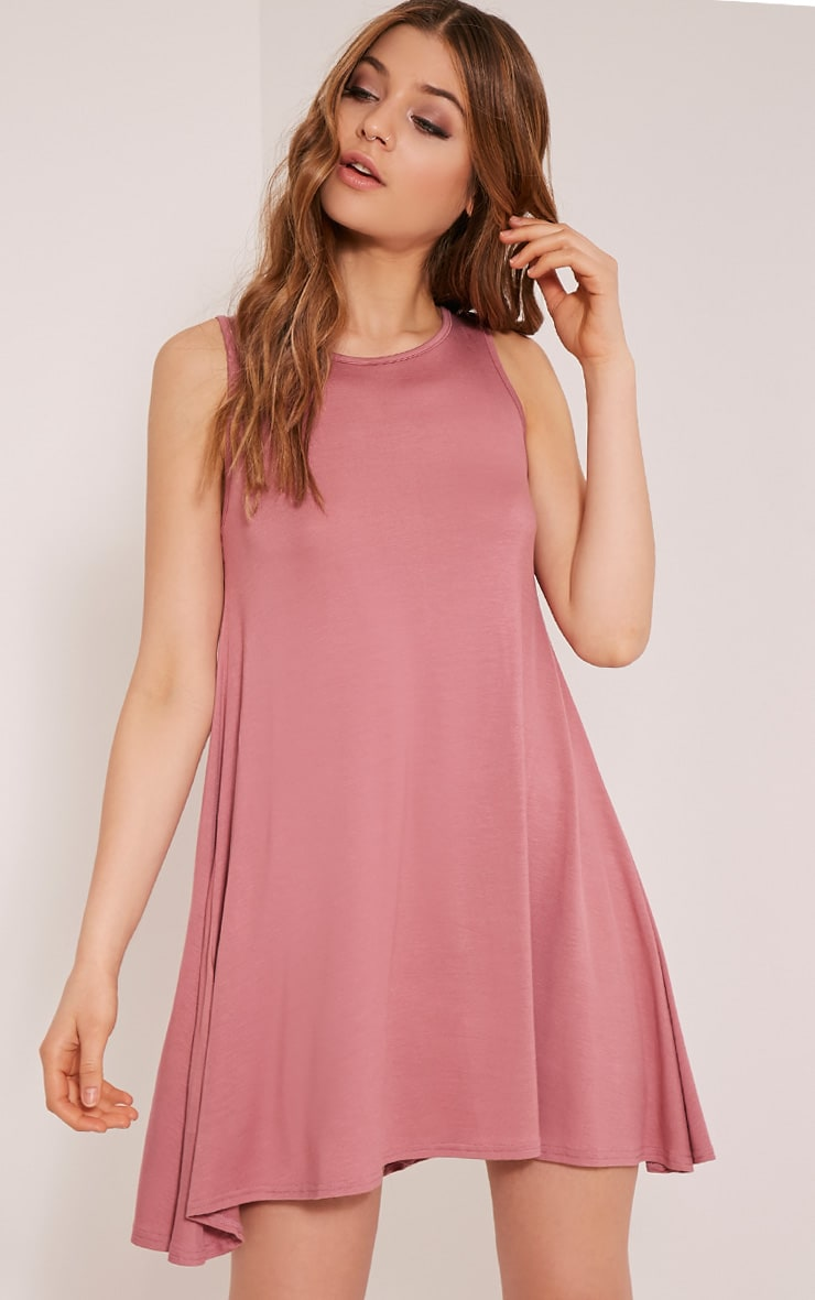 Basic Rose Sleeveless Swing Dress 1