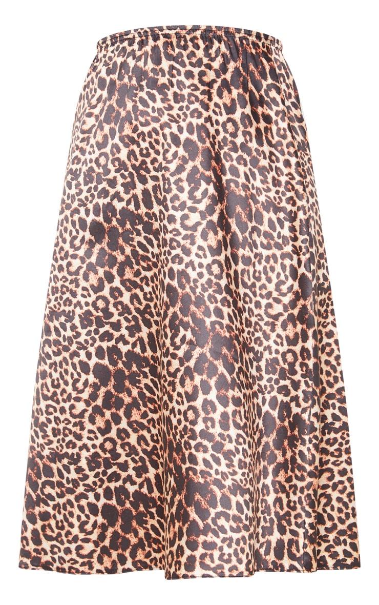 Satin Leopard Print Midi Skirt  3
