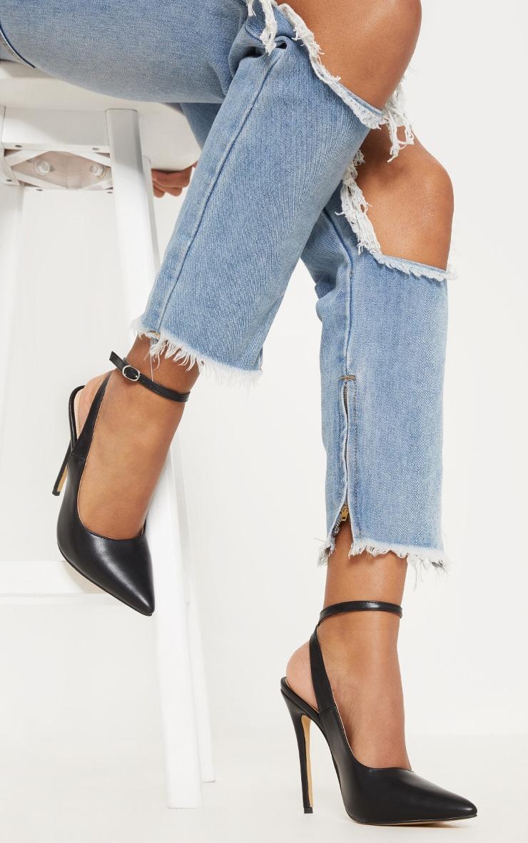 Black Ankle Strap Court Shoe