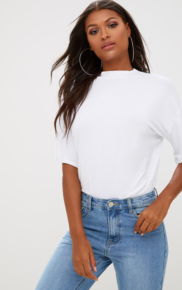 White Basic Oversized Cropped Sleeve T Shirt 1