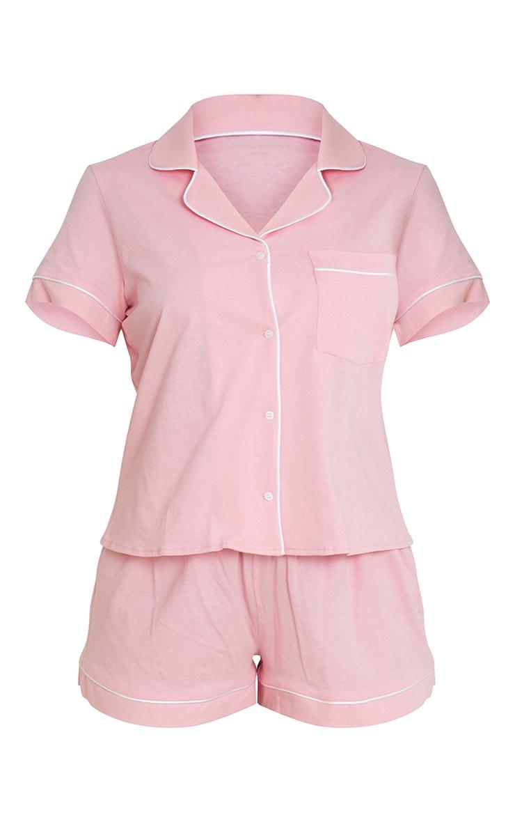 Pink Jersey Button Down Short Set 5