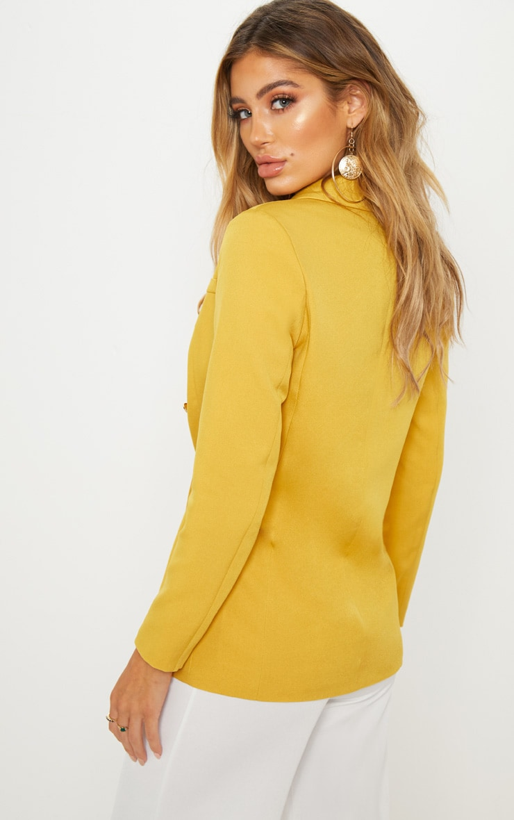 Mustard Double Breasted Military Blazer 2