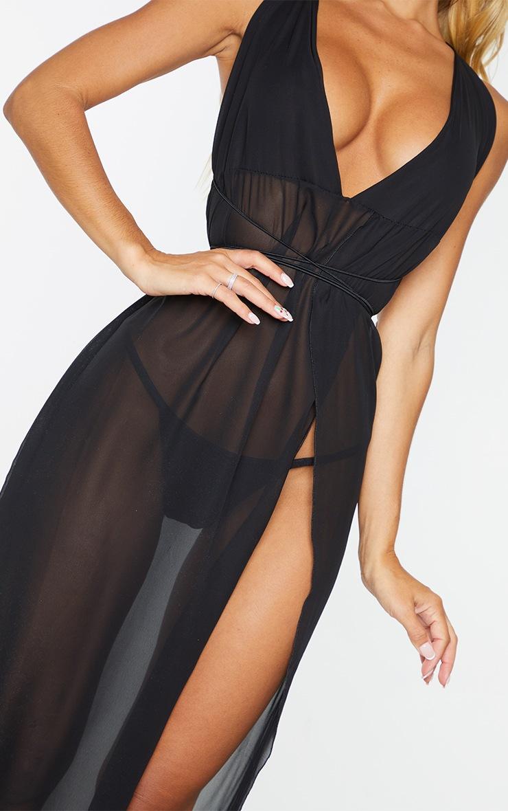 Black Chiffon Plunge Beach Dress 5