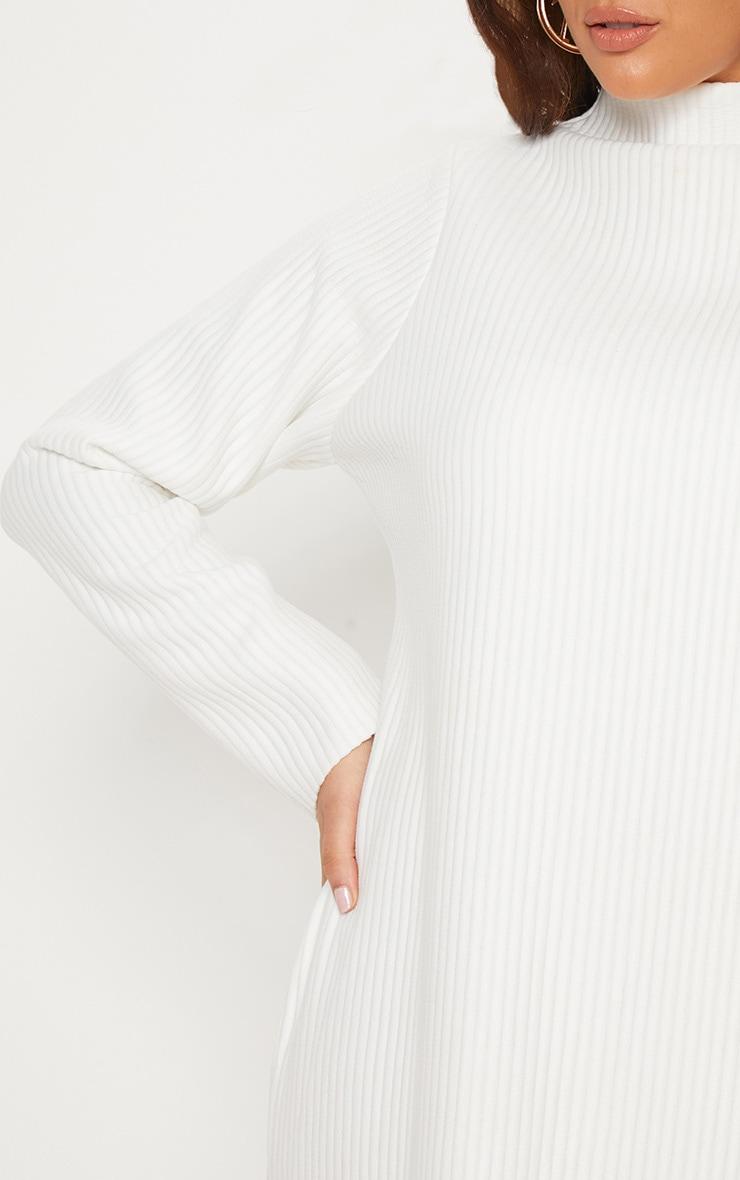 Plus Cream Jumbo Rib High Neck Sweater Dress 6