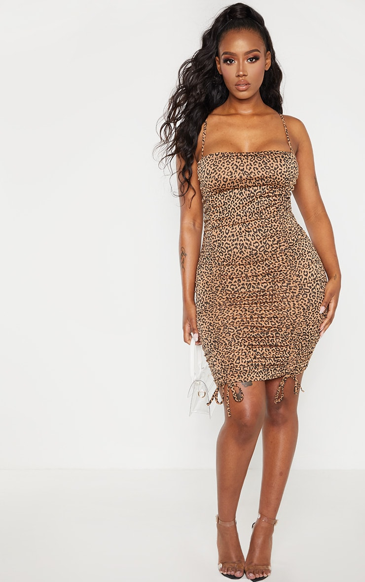 Shape Brown Leopard Print Strappy Ruched Bodycon Dress 4