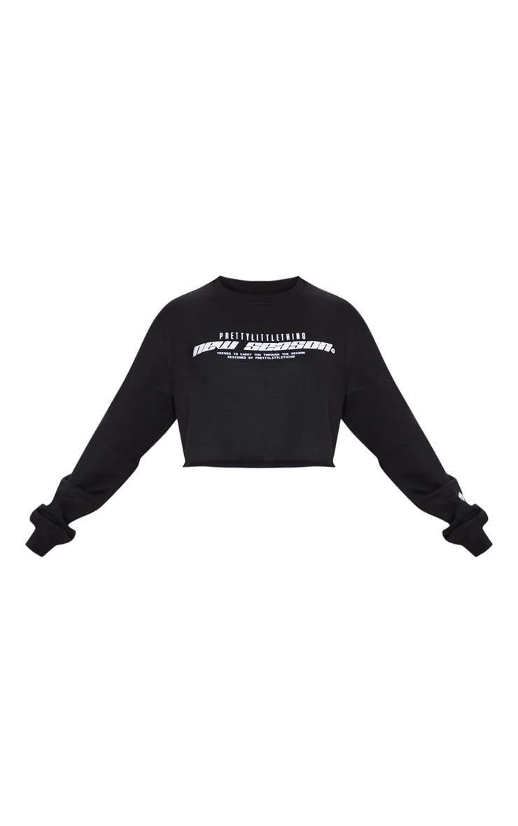 PRETTYLITTLETHING Black New Season Slogan Cropped Sweater 5
