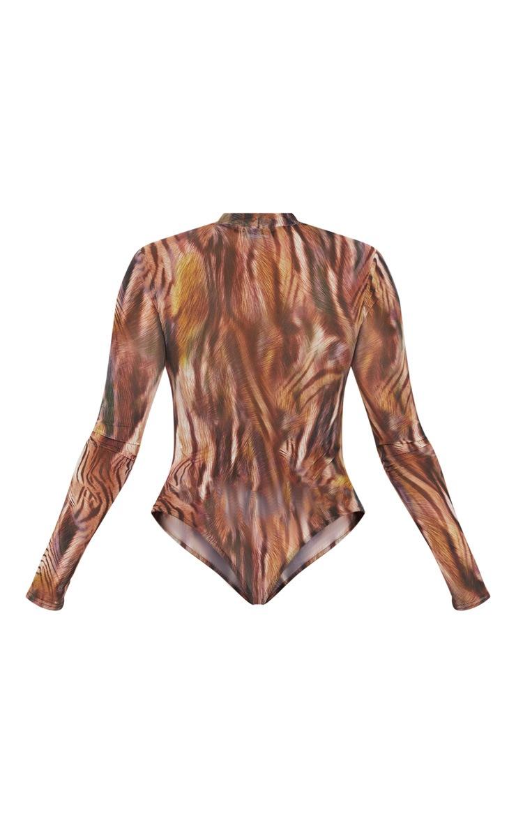 Brown Printed Mesh High Neck Long Sleeve Bodysuit 4