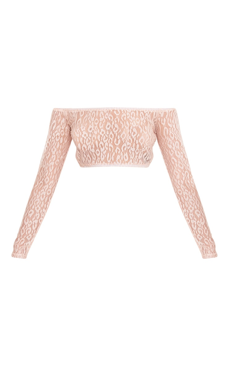 Knox Pink Leopard Mesh Bardot Long Sleeve Crop Top 3