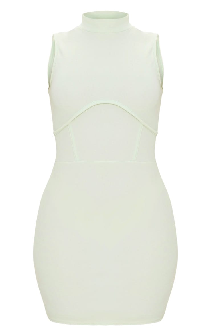 Pale Lime High Neck Sleeveless Underbust Detail Bodycon Dress 5
