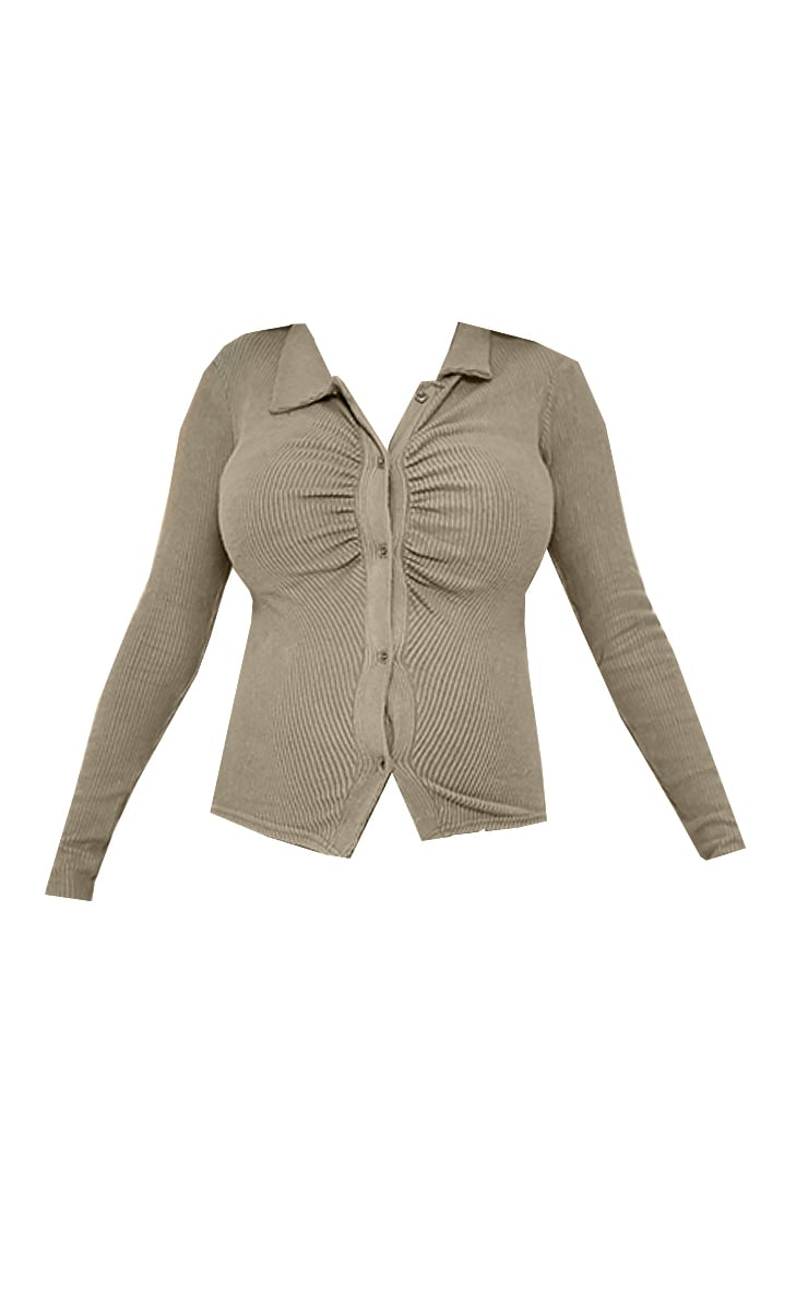 Maternity Sage Green Brushed Rib Ruched Longsleeve Top 5