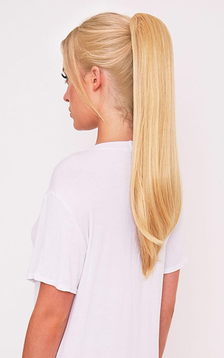Golden Blonde Clip In Straight Ponytail 1