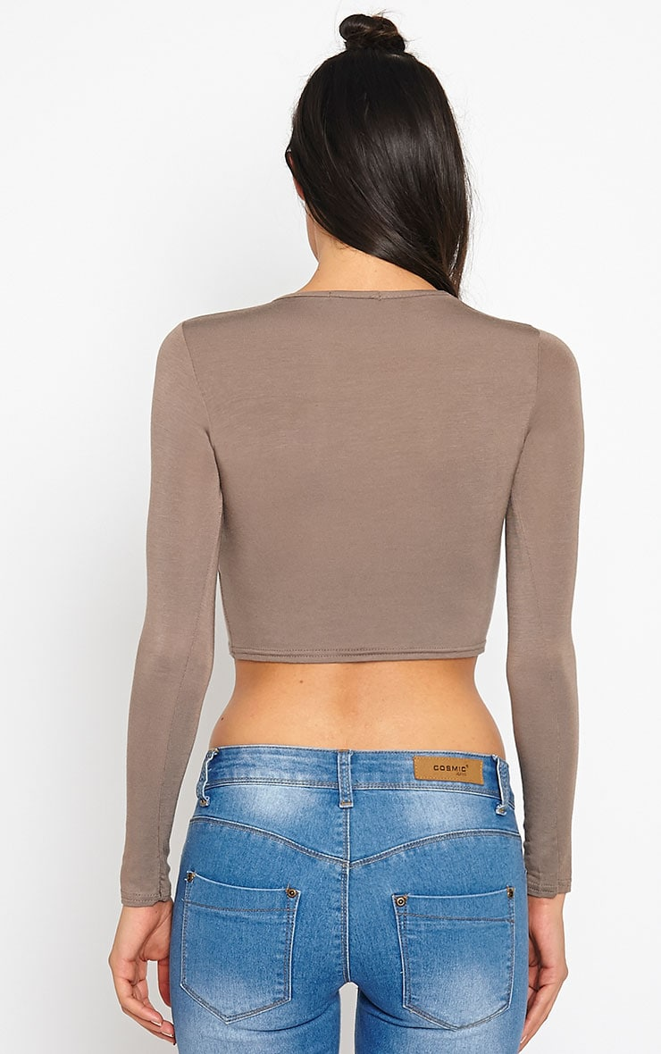 Basic Mocha Long Sleeve Crop Top 2