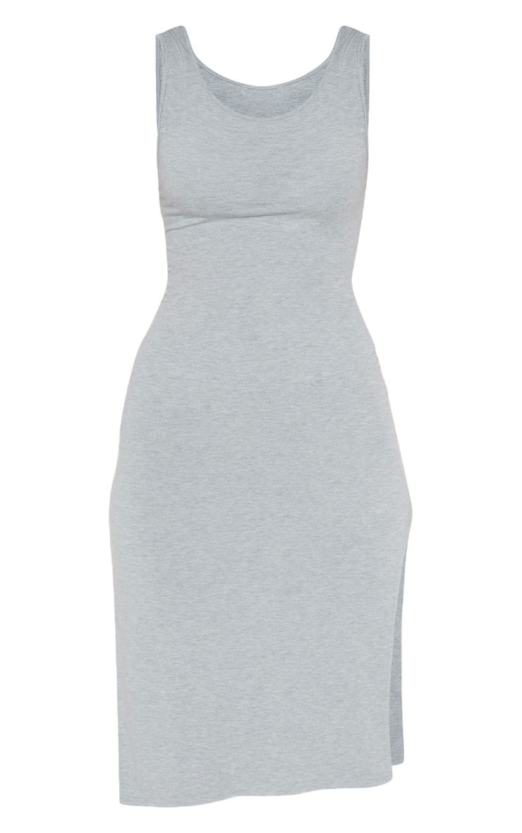 Grey High Neck Drop Arm Hole Midi Dress 3