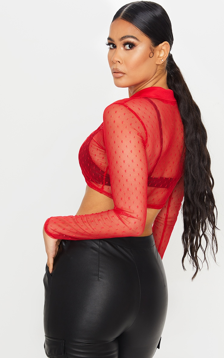 Red Dobby Mesh Cropped Shirt 2
