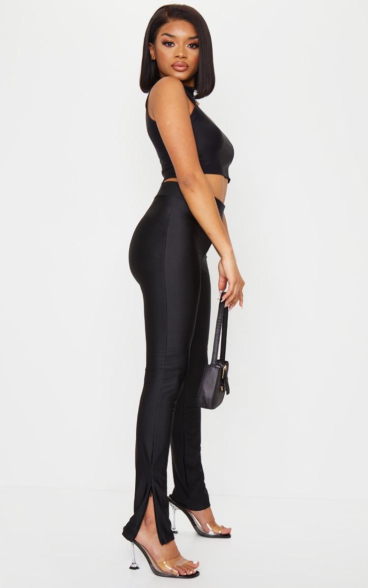 Petite Black Zip Hem Disco Leggings 1