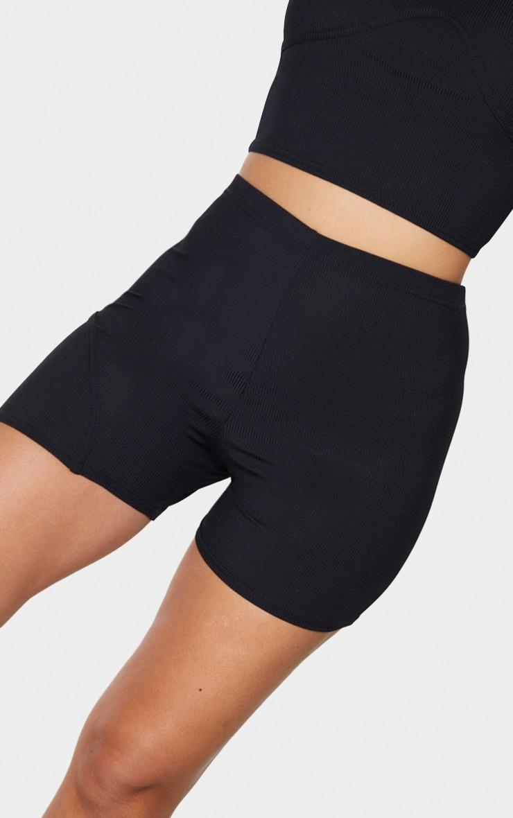 Black Rib High Waist Cycle Shorts 5