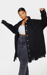 Plus Black Oversized Ripped Hem Denim Shirt 3
