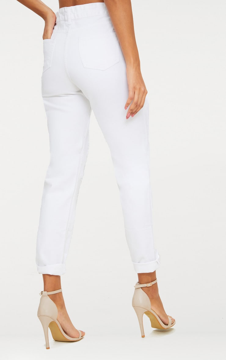 White Open Front Mom Jean 4