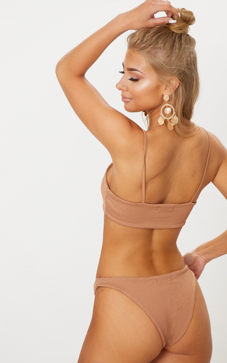 Mocha Crinkle Scoop Neck Bikini Top 2
