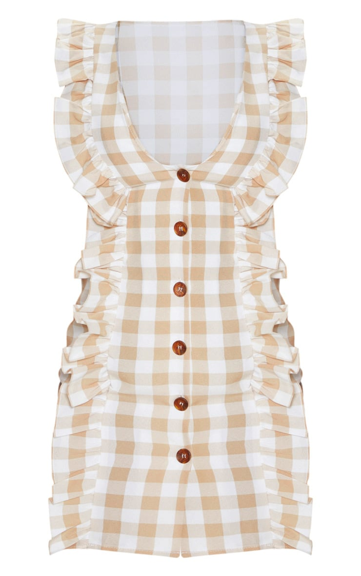 Petite Brown Gingham Frill Detail Button Front Dress 3