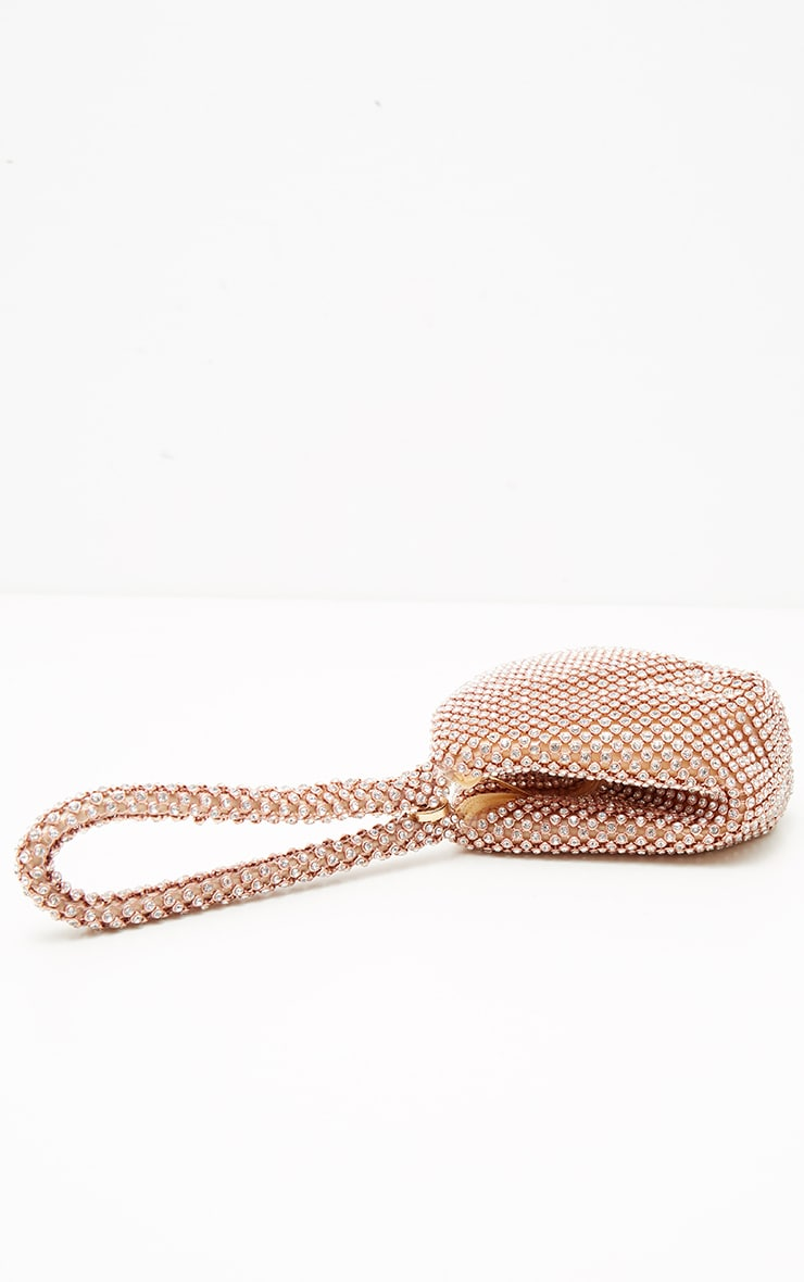 Rose Gold Diamante Chainmail Pouch 2