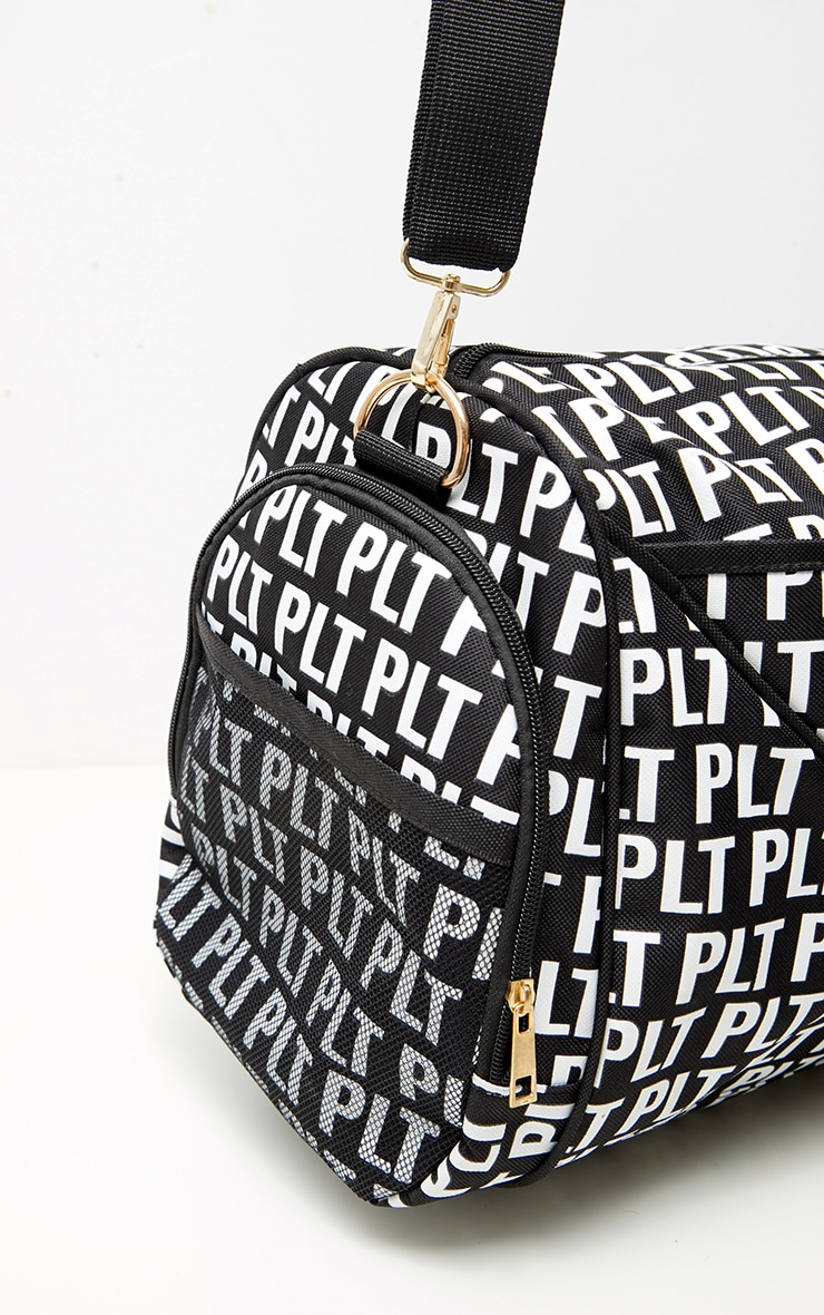 PRETTYLITTLETHING Black Mono Duffle Bag 4