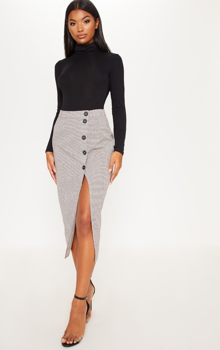 Brown Check Button Detail Midi Skirt